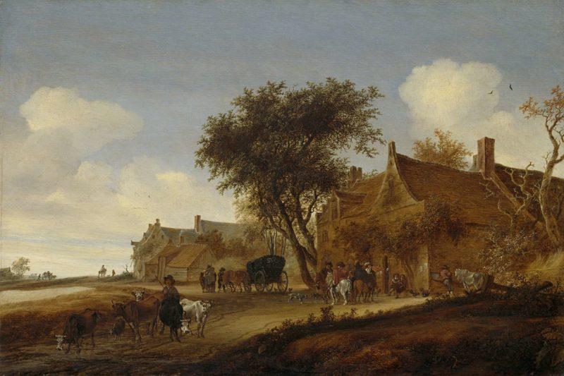 Village Inn with chariot. 1655 | Salomon van Ruysdael | oil painting