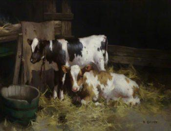 Two Ayrshire Calves   David Gauld   oil painting