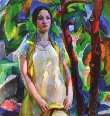 Girl in Garden | Edouard Vysekal | oil painting