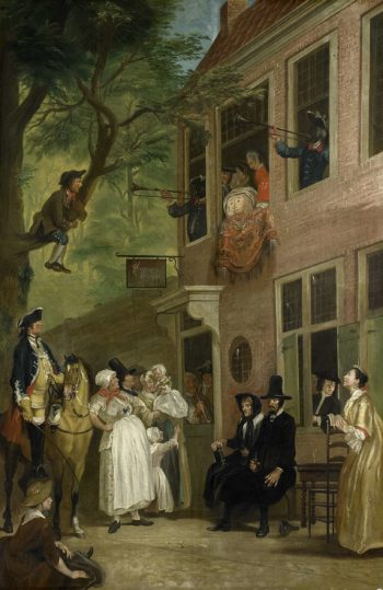 The misleyden: the ambassador of Labberlotten shows up at the window of the inn 't Bokki in Haarlemmerhout. ca. 1720 - ca. 1750 | Cornelis Troost | oil painting