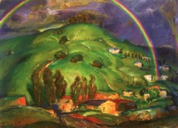 Rainbow and Green Hills | Edouard Vysekal | oil painting