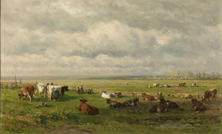 Meadow Landscape with Cattle. ca. 1880 | Willem Roelofs (I) | oil painting