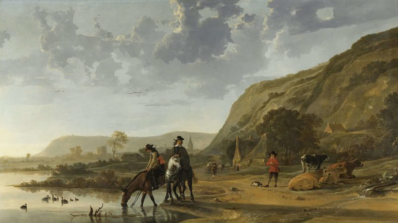 River Landscape with Riders. 1653 - 1657 | Aelbert Cuyp | oil painting