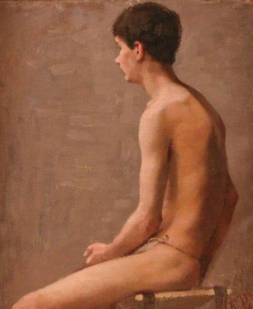 Boy Sitting   Elin Kleopatra Danielson Gambogi   oil painting