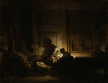 The Holy Family at night. ca. 1642 - ca. 1648 | Rembrandt Harmensz. van Rijn | oil painting