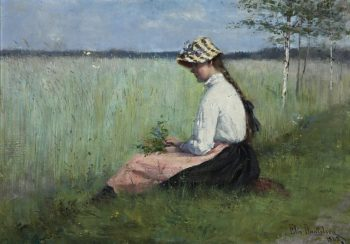 Girl in a meadow | Elin Kleopatra Danielson Gambogi | oil painting