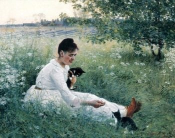 Girl with cats in a summer landscape | Elin Kleopatra Danielson Gambogi | oil painting