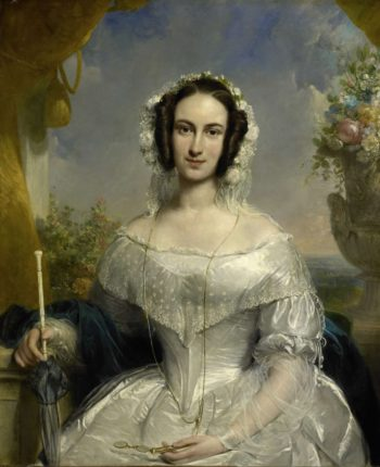 Agatha Petronella Hartsen (1814-78). In bridal gown on the occasion of her marriage to Jan van der Hoop on March 17