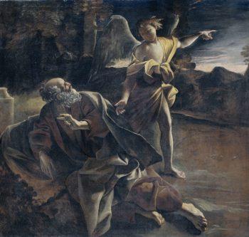 The prophet Elijah in the desert awakened by an angel. 1624 - 1625   Giovanni Lanfranco   oil painting