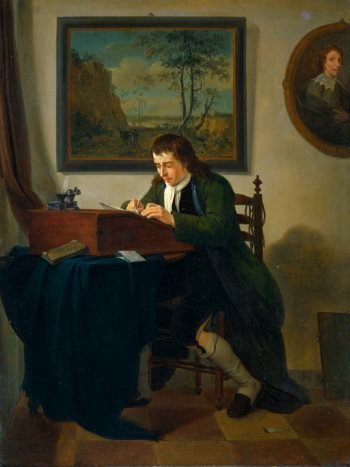 A man writing at his desk. 1784 | Jan Ekels (II) | oil painting