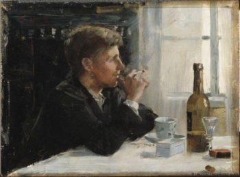 Man Seated at a Table   Elin Kleopatra Danielson Gambogi   oil painting