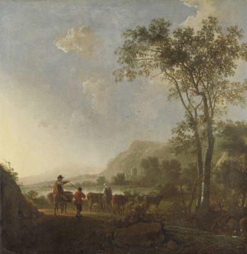 Landscape with shepherds and cattle. 1650 - 1660 | Aelbert Cuyp | oil painting