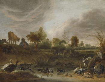 Landscape with animals. 1652 | Cornelis Saftleven | oil painting