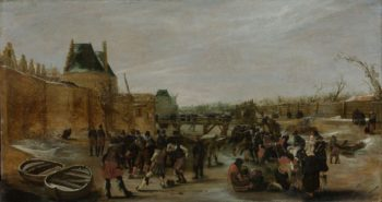 Fun on the ice on a canal. ca. 1615 - ca. 1620 | Hendrick Avercamp | oil painting