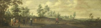Landscape with dancing couple. 1645 | Pieter Meulener | oil painting