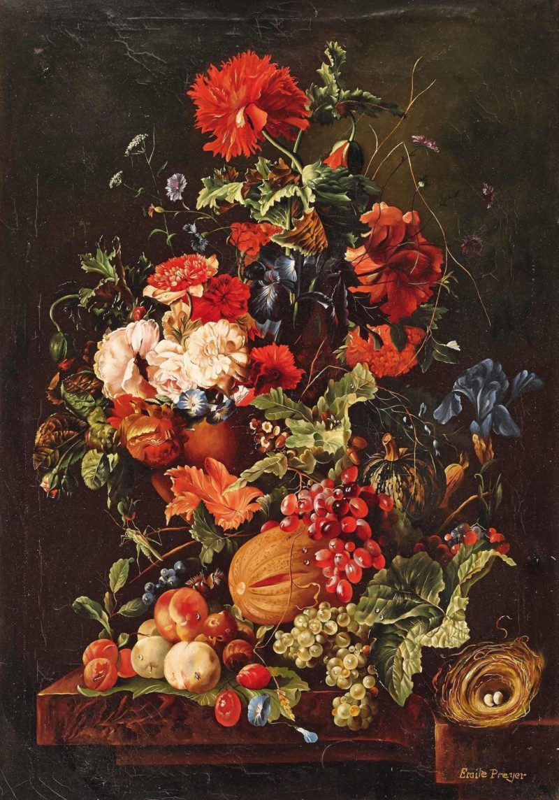 Floral Still Life with Fruit and Birds Nest | Emilie Preyer | oil painting