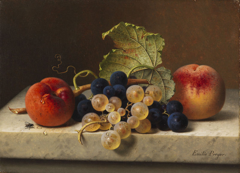 Fruit still life with two peaches and blue and green grapes on the branch and a vine leaf | Emilie Preyer | oil painting