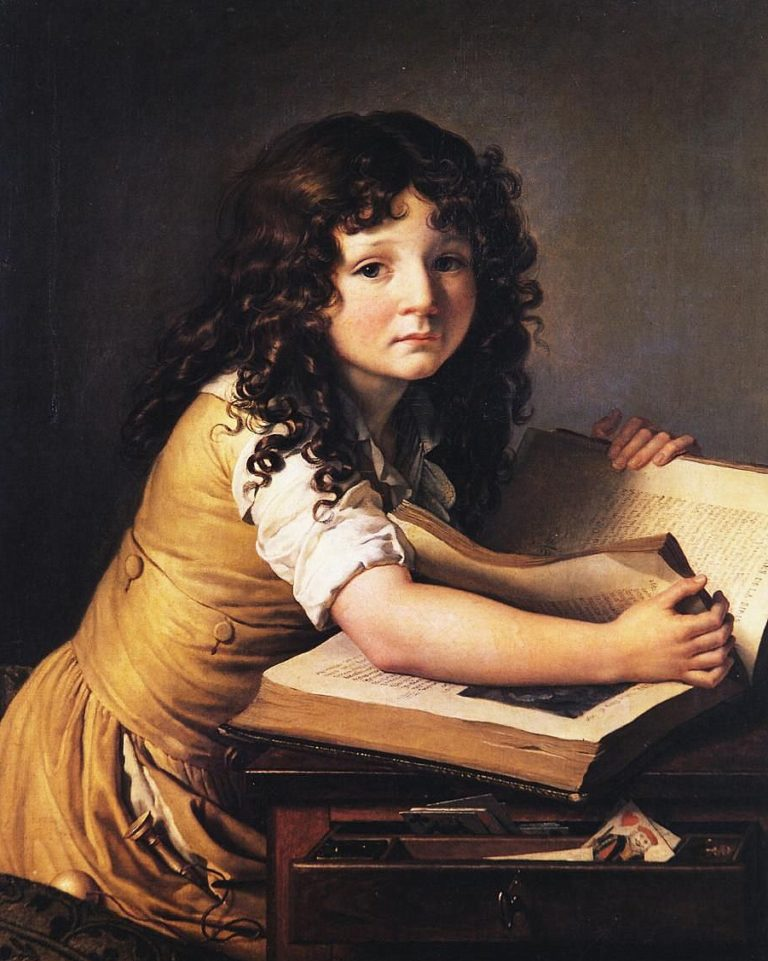 Benoit Agnes Trioson Reading a Book | Anne Louis Girodet de Roussy Trioson | oil painting