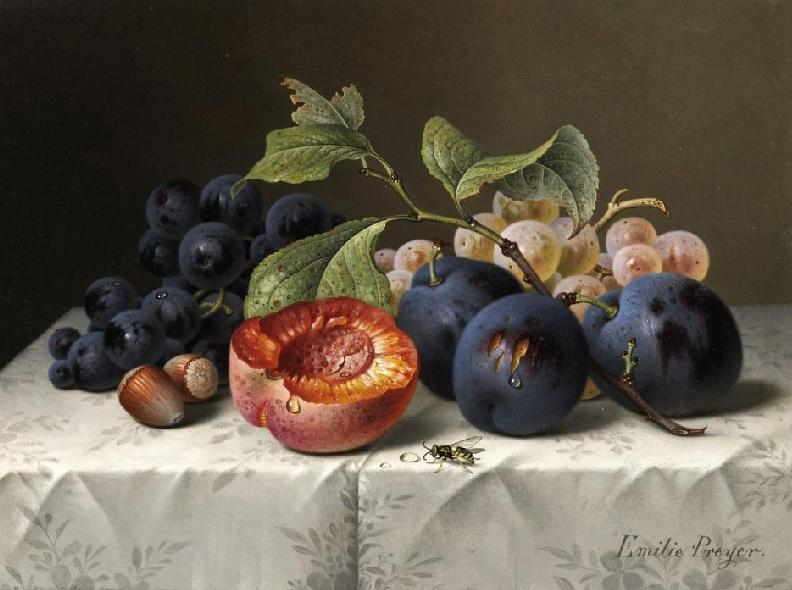Still Life with Grapes and Apricots | Emilie Preyer | oil painting