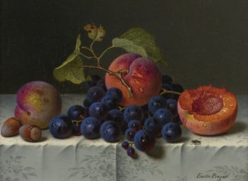 Still life with peaches grapes and nuts on a table | Emilie Preyer | oil painting