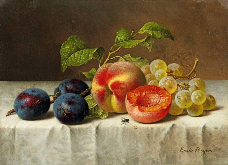 Still life with peaches plums and grapes | Emilie Preyer | oil painting