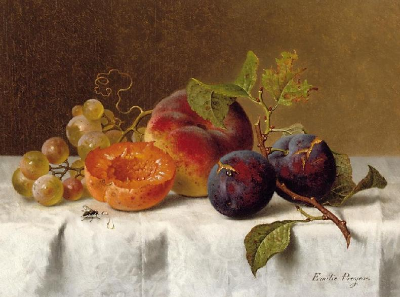 Still Life with Plums Grapes and Apricots | Emilie Preyer | oil painting