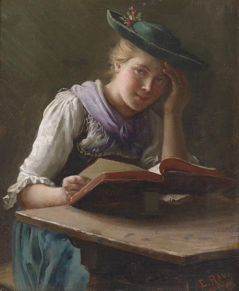 An Interesting Book   Emil Rau   oil painting