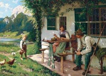 A summer day in front of the house | Emil Rau | oil painting