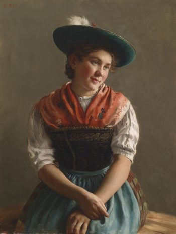 Girl in Sunday Dress | Emil Rau | oil painting