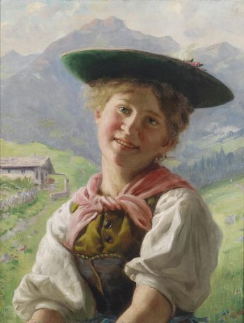 Girl in the Mountain Landscape | Emil Rau | oil painting