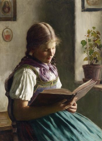 Girl Reading | Emil Rau | oil painting