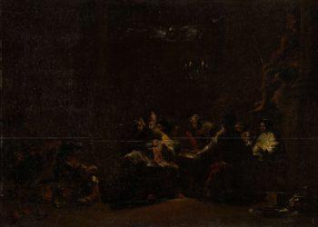 Pash'hur stores Jeremiah in the temple. ca. 1648   Leonaert Bramer   oil painting