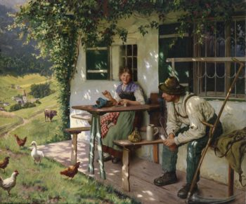 Young couple in front of a farmhouse in Upper Bavaria | Emil Rau | oil painting