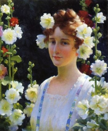 Among the Hollyhocks | Charles Courtney Curran | oil painting