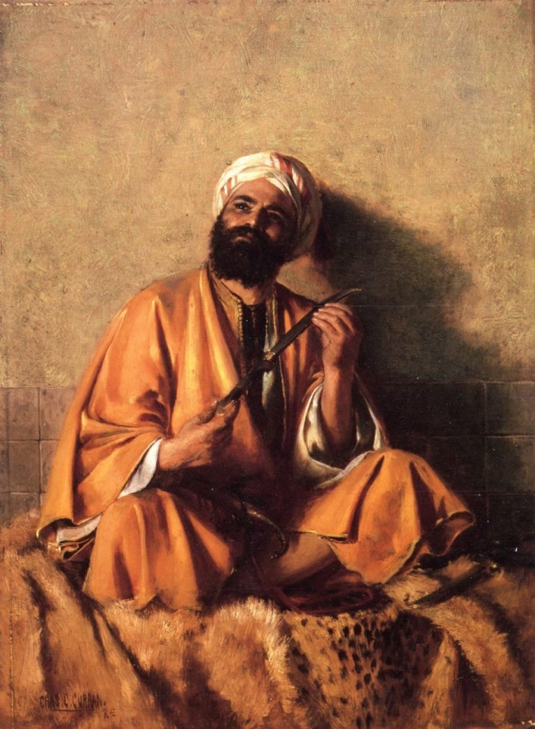Arab Figure with Simitar | Charles Courtney Curran | oil painting