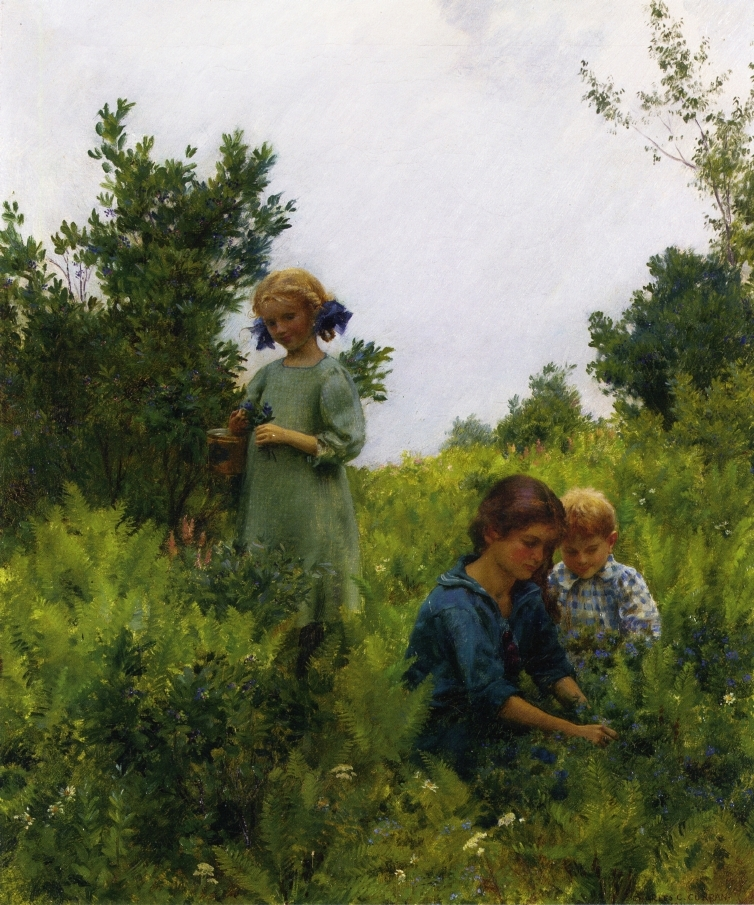 Blueberries and Ferns | Charles Courtney Curran | oil painting