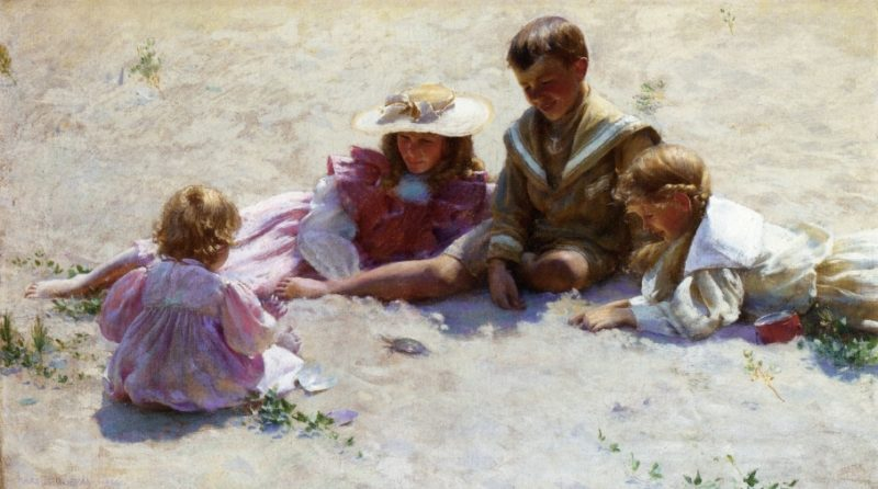 Children by the Seashore | Charles Courtney Curran | oil painting