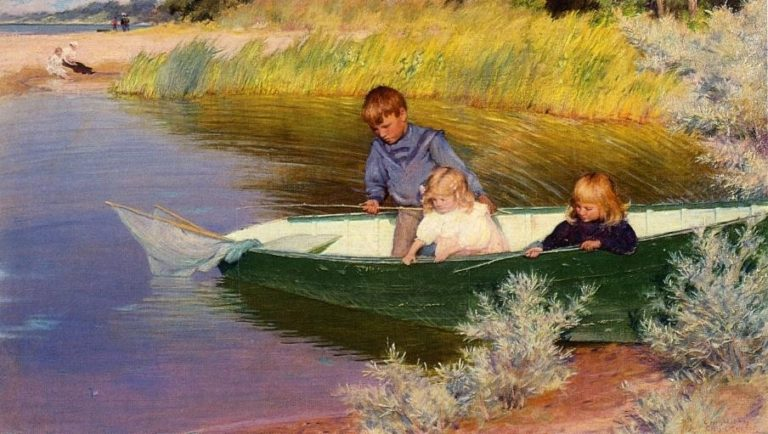 Children Fishing | Charles Courtney Curran | oil painting