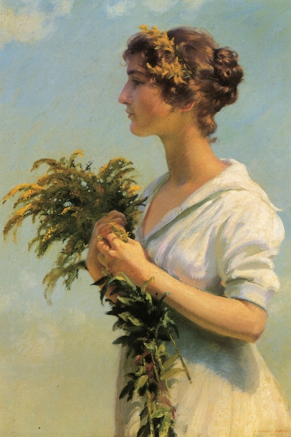 Girl with Goldenrod | Charles Courtney Curran | oil painting