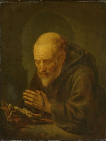 A hermit in prayer. 1645 - 1675 | Gerard Dou | oil painting