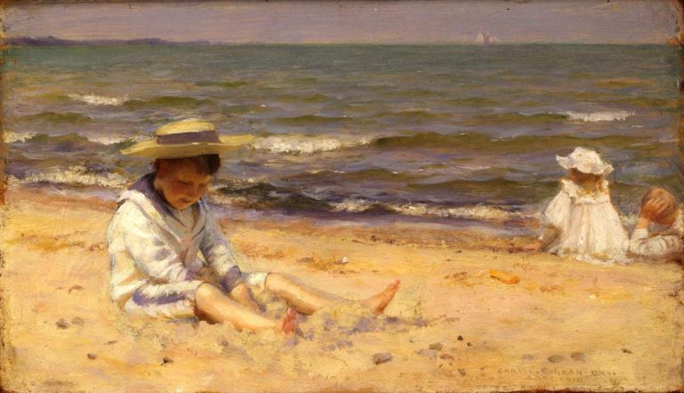 On The Beach Lake Erie | Charles Courtney Curran | oil painting