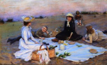 Picnic Supper on the Sand Dunes | Charles Courtney Curran | oil painting
