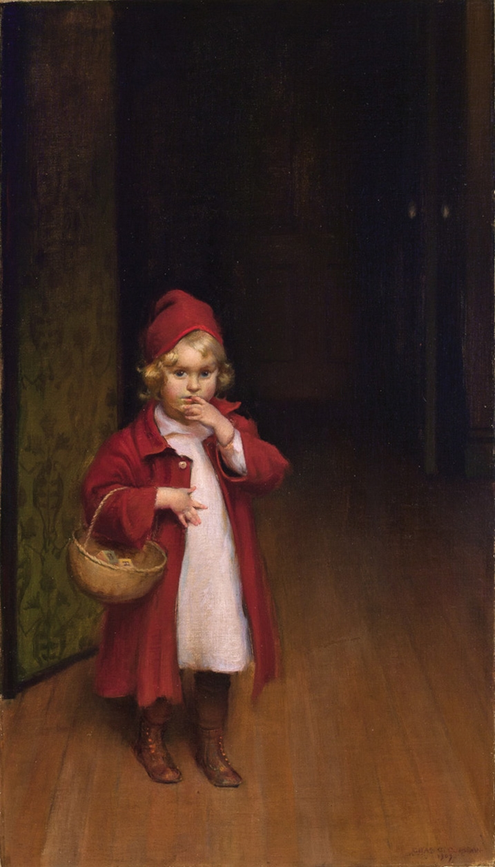 Playing Red Riding Hood   Charles Courtney Curran   oil painting