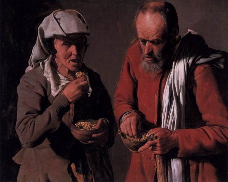 Peasant Couple Eating | Georges de la Tour | oil painting