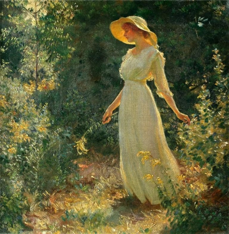 Woman in a white dress in a garden | Charles Courtney Curran | oil painting