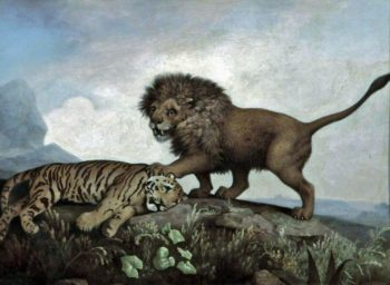 A Lion and a Tiger | George Stubbs | oil painting