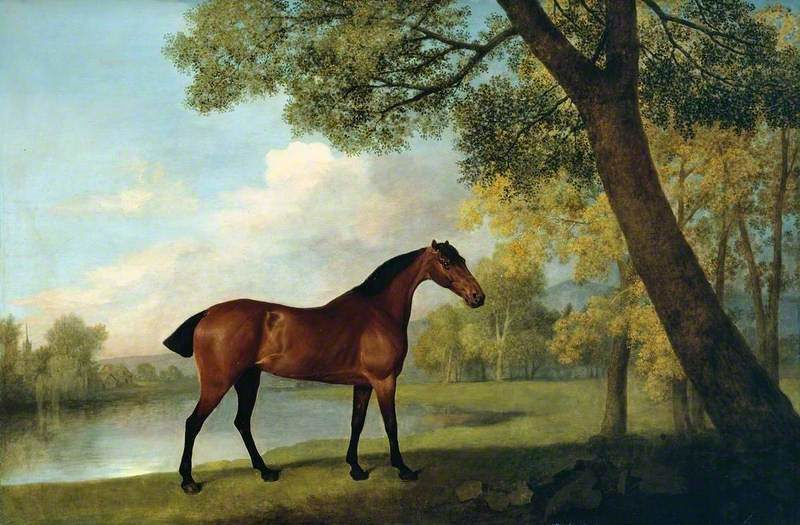 Bay Hunter by a Lake | George Stubbs | oil painting