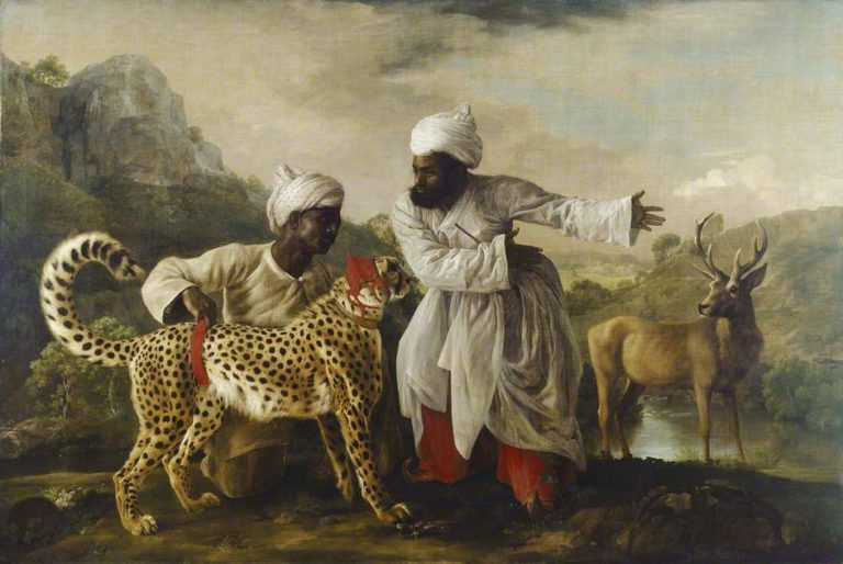 Cheetah and Stag with Two Indians | George Stubbs | oil painting