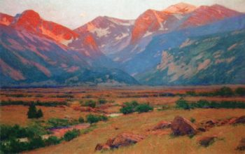 Sunrise on the Mountains at the Head of Moraine Park Near Estes Park | Charles Partridge Adams | oil painting