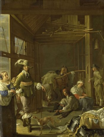 Get executives in a horse stable. ca. 1655 | Jacob Duck | oil painting